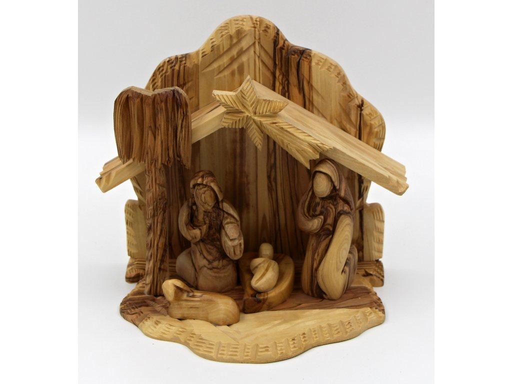 Dřevěny betlém 18,5 cm s pevně umístěnými postavami