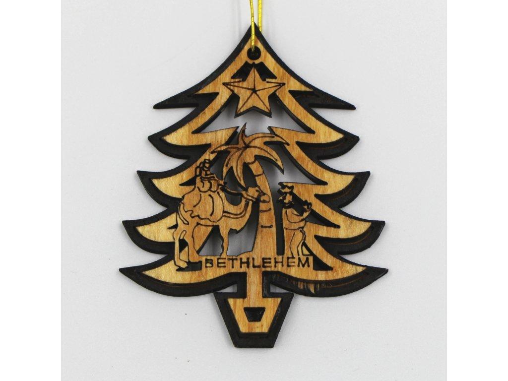 Vánoční dřevěná ozdoba tři králové ve stromečku