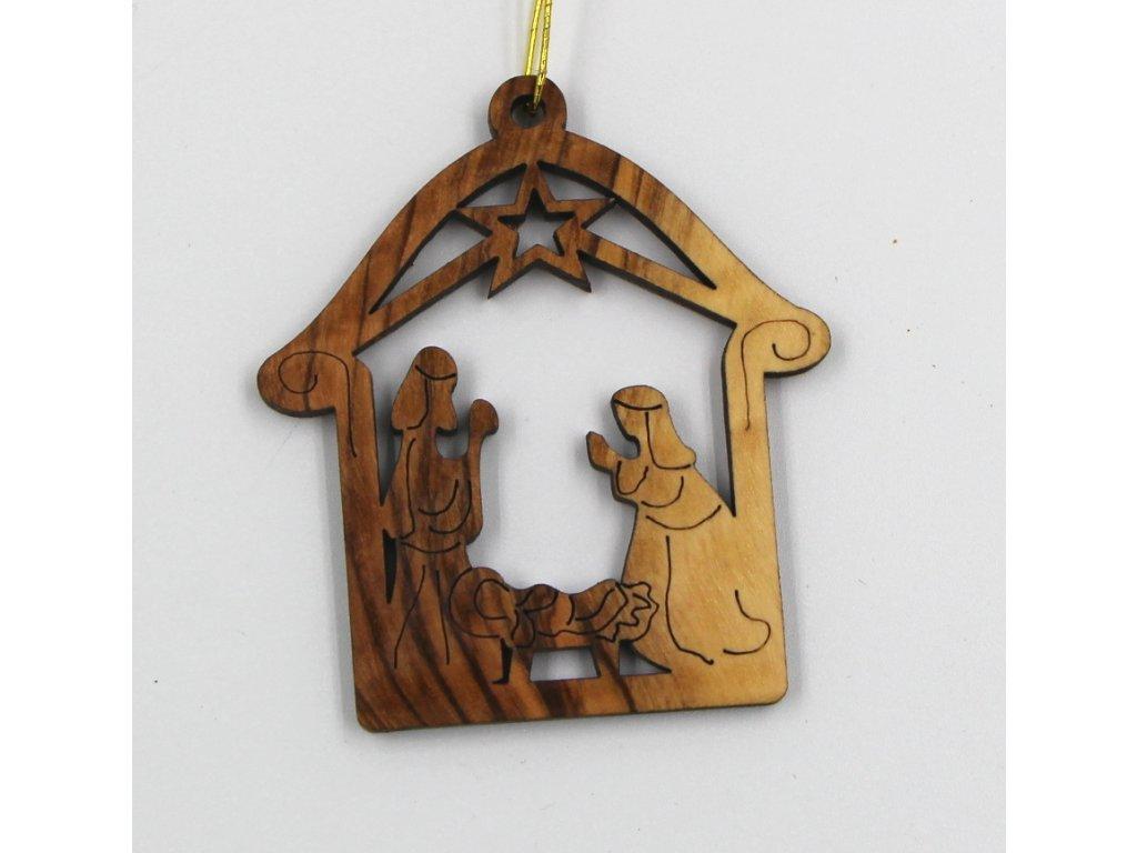 Vánoční dřevěná ozdoba betlém se svatou rodinou