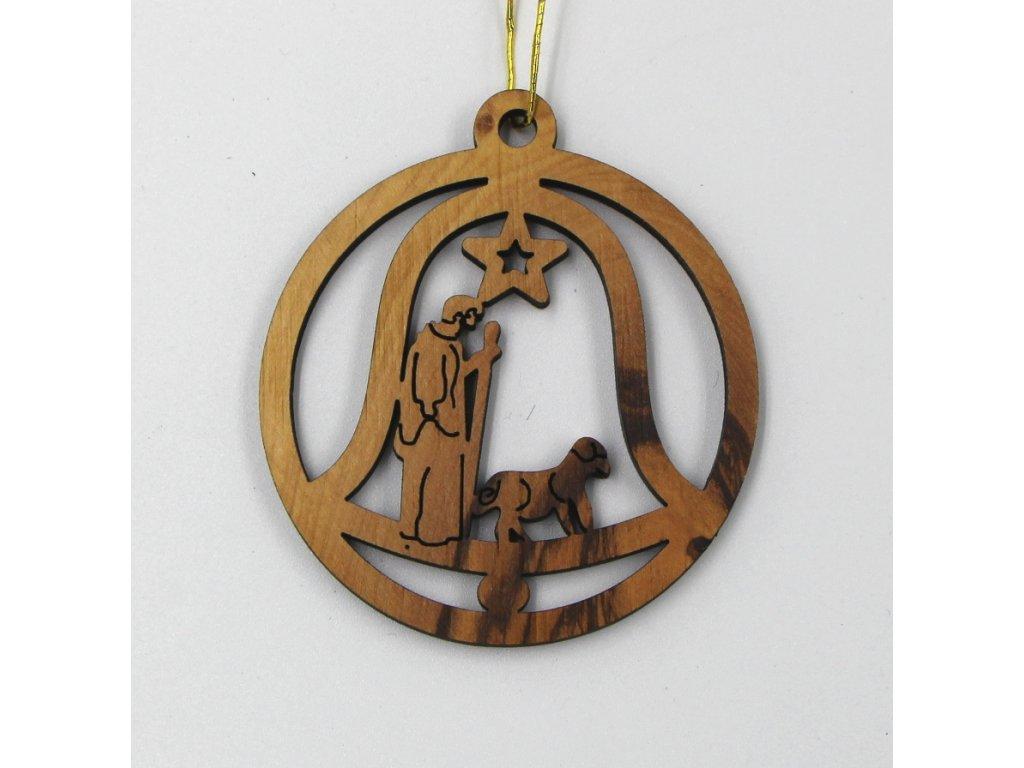 Vánoční dřevěná ozdoba pastýř s ovečkou