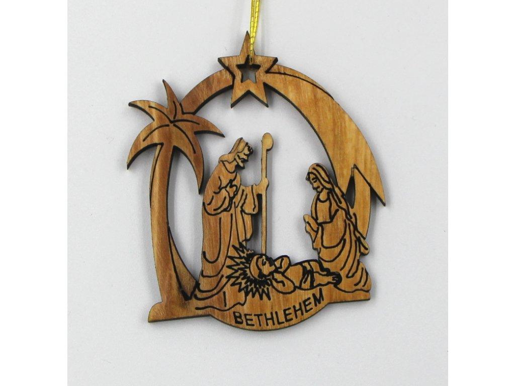 Vánoční dřevěná ozdoba svatá rodina
