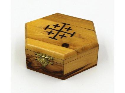 Šestihranná krabička s jeruzalémským křížem
