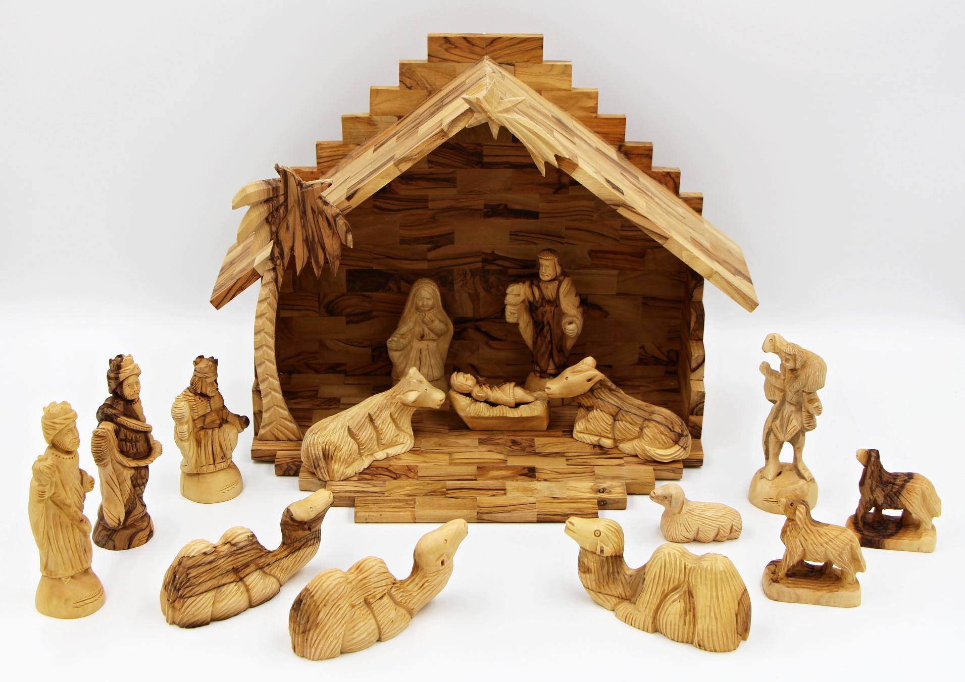 Dřevěný betlém 13 cm