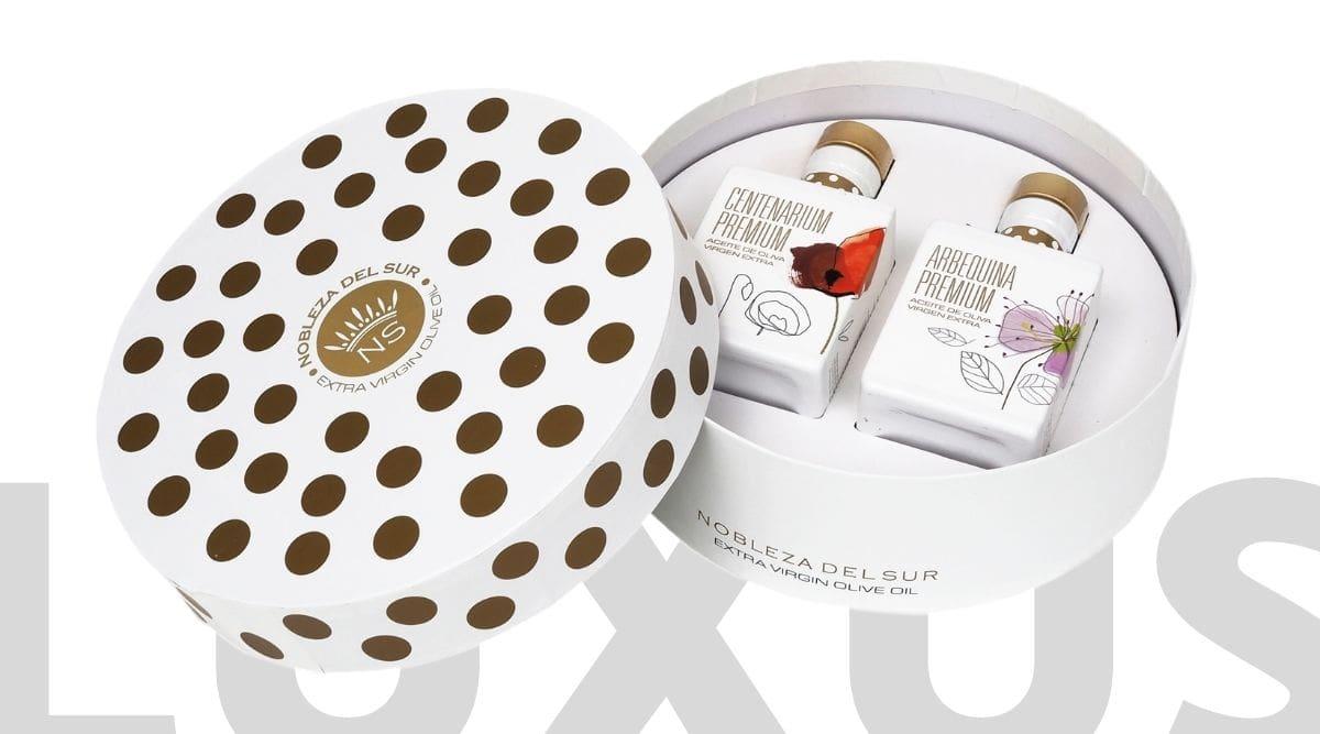 Luxusní dárkové balené španělského prémiového olivového oleje Nobleza del Sur Round Case