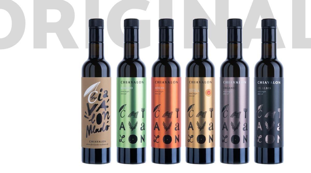 Prémiové extra panenské olivové oleje Chiavalon z rodinné farmy na Istrii