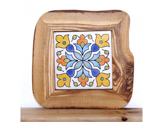 Keramická kachlička v olivovom dreve 05
