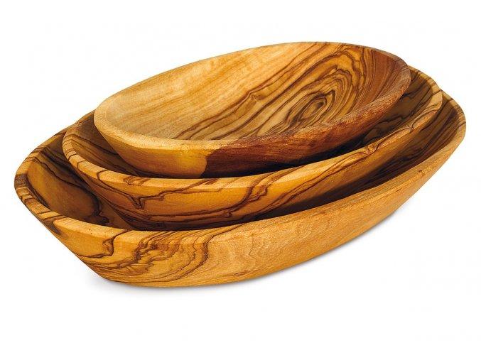 Set oválnych drevených misiek