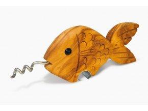 Drevená vývrtka rybka