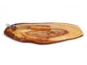 Rustikálna servírovacia doska z olivového dreva s nožíkom oválna 01