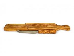 Doska na krájanie z olivového dreva 37x8 cm s nožíkom 01