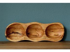 Drevená miska s 3 priehradkami