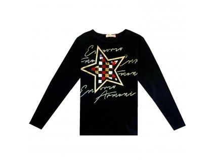 Dívčí triko s flitry - KUGO B3259, černá