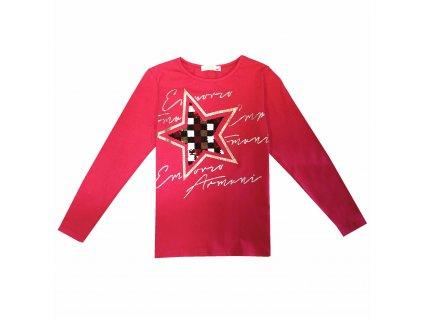 Dívčí triko s flitry - KUGO B3259, růžová