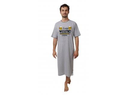 Pánská noční košile - CALVI 19-072, šedý melír
