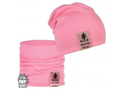 Dívčí čepice a nákrčník Dráče - vzor 06, růžová