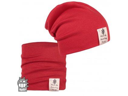 Bavlněná čepice a nákrčník Dráče - vzor 17, červená
