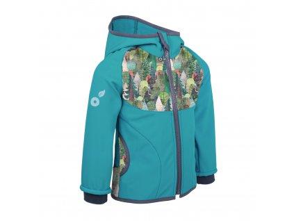 Dětská softshellová bunda s fleecem - Unuo Kouzelné stromy, smaragdová