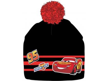 Chlapecká zimní čepice - Auta, černá/červená bambule