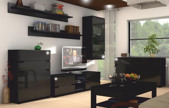 Sektorový nábytok Adonis, čierna
