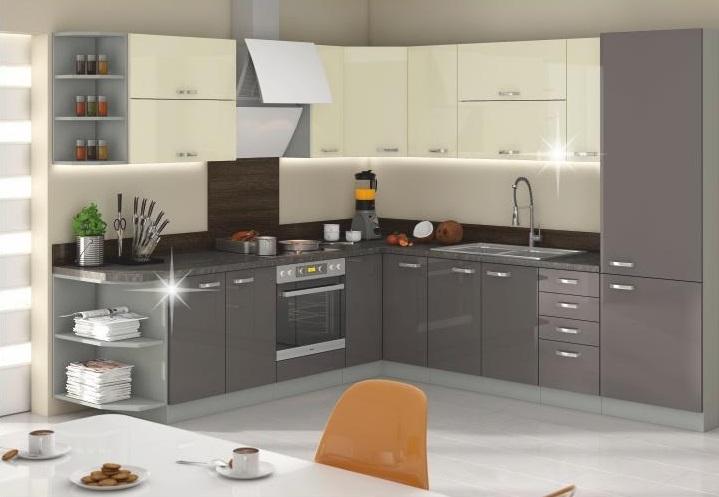 Kuchyňa Prado - krém/sivá lesk