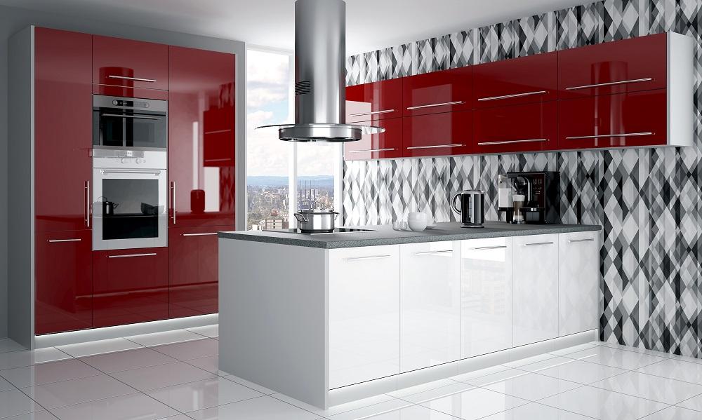 kuchyňa platinum deep red white
