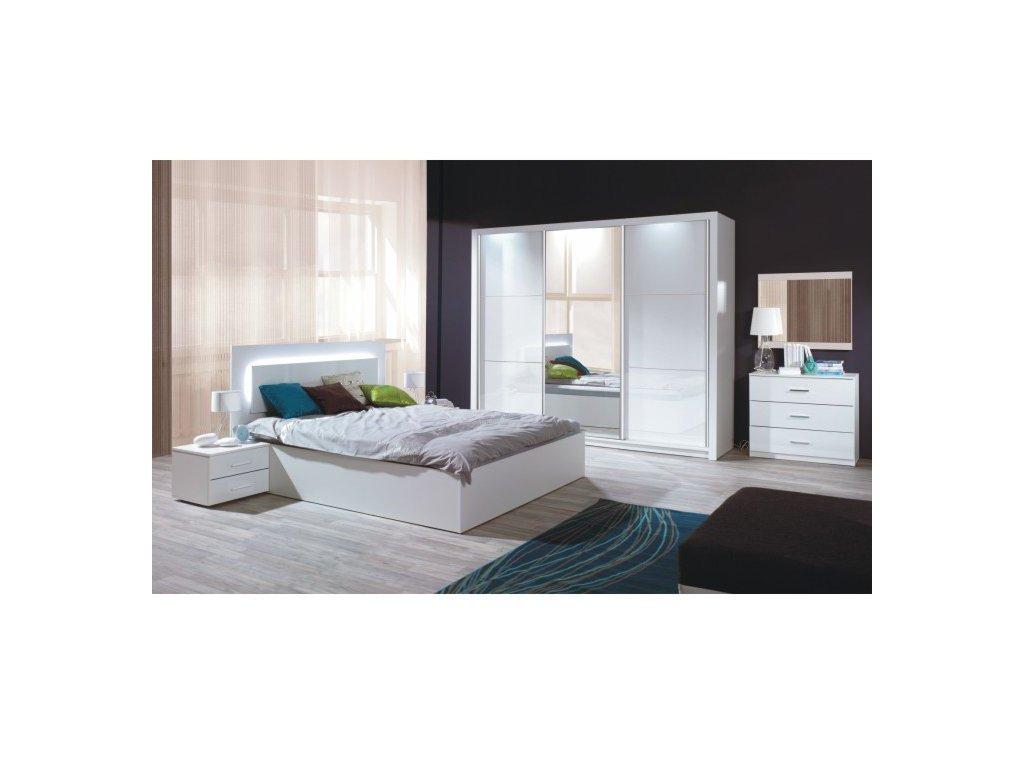 Spálňový komplet (skriňa+posteľ 160x200+2x nočný stolík), biela/vysoký biely lesk HG, ASIENA