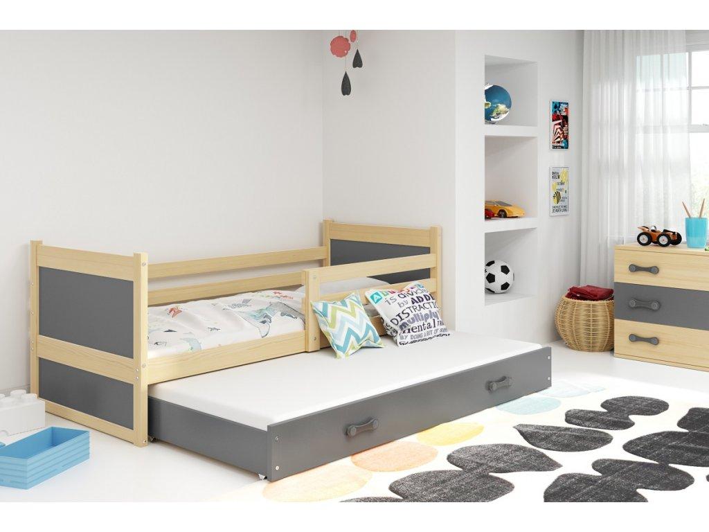 detska jednolozkova postel s pristelkou RICO 2 BOROVICA SIVA
