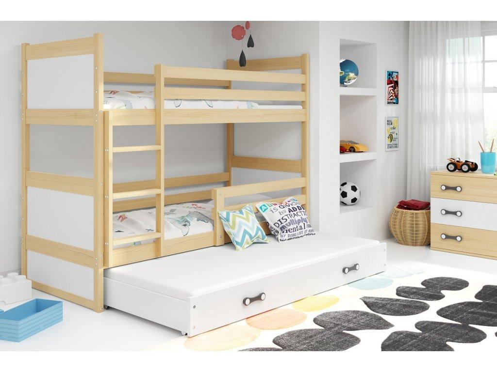 detska poschodova postel s pristelkou RICO BOROVICA BIELA