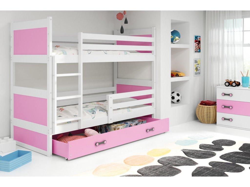 detska poschodova postel s uloznym priestorom RICO BIELA RUZOVA