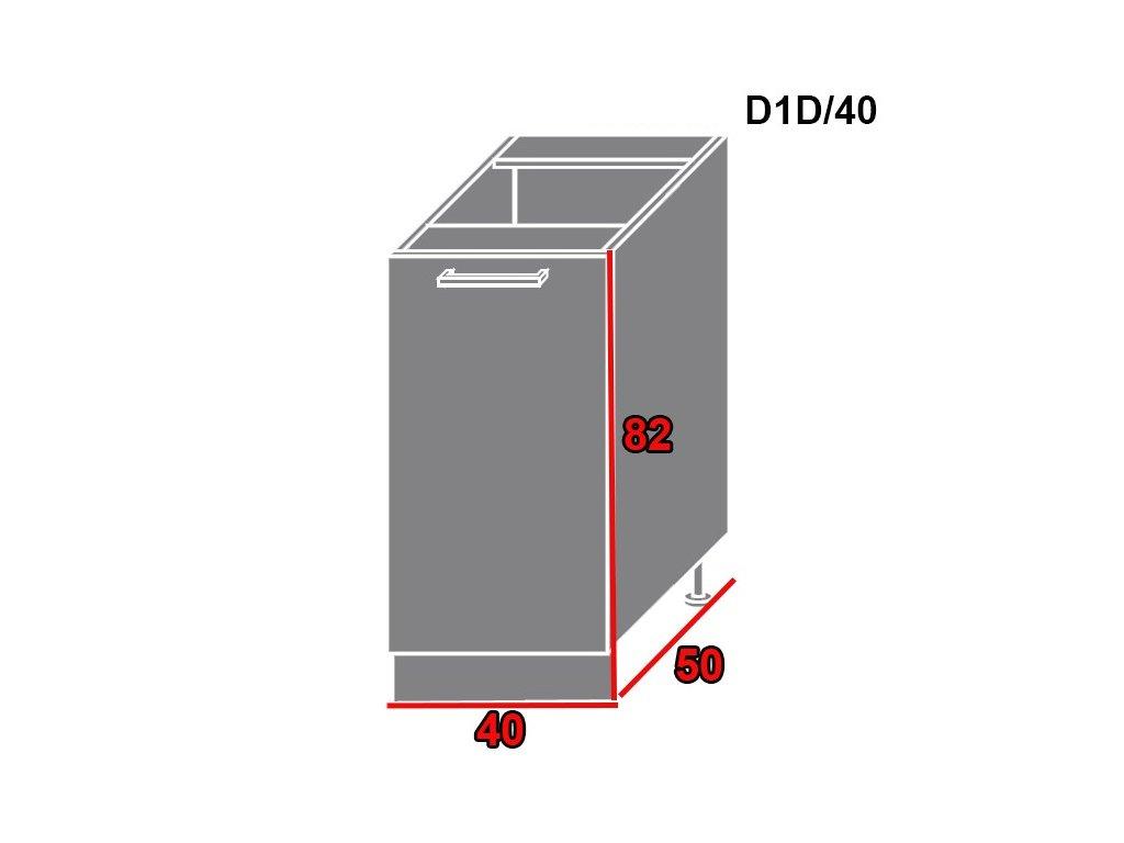 Spodná kuchynská skrinka Quantum D1D/40 (FARBA DVIEROK Biely mat, FAREBNÉ PREVEDENIE KORPUSU Lava)