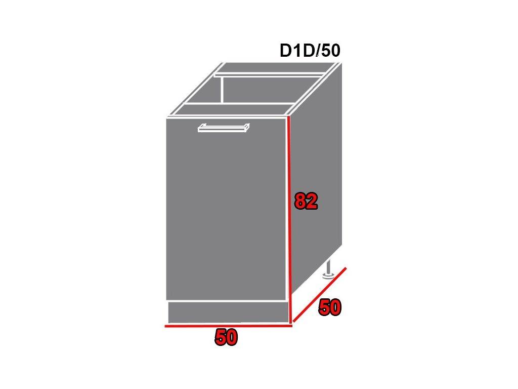 Spodná kuchynská skrinka Quantum D1D/50 (FAREBNÉ PREVEDENIE KORPUSU Lava, FARBA DVIEROK Beige mat)