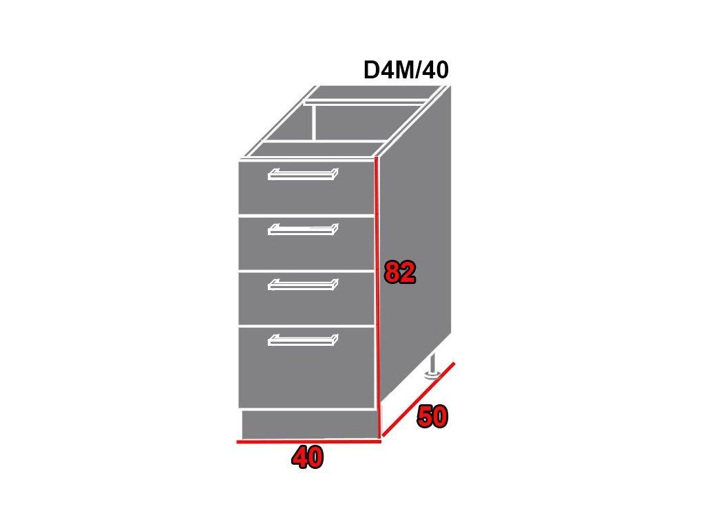 Spodná kuchynská skrinka Quantum D4M/40 (FARBA DVIEROK Biely mat, FAREBNÉ PREVEDENIE KORPUSU Lava)