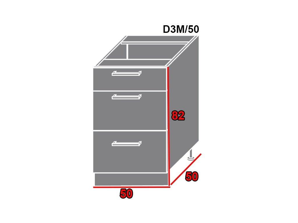 Spodná kuchynská skrinka Quantum D3M/50 (FARBA DVIEROK Biely mat, FAREBNÉ PREVEDENIE KORPUSU Lava)