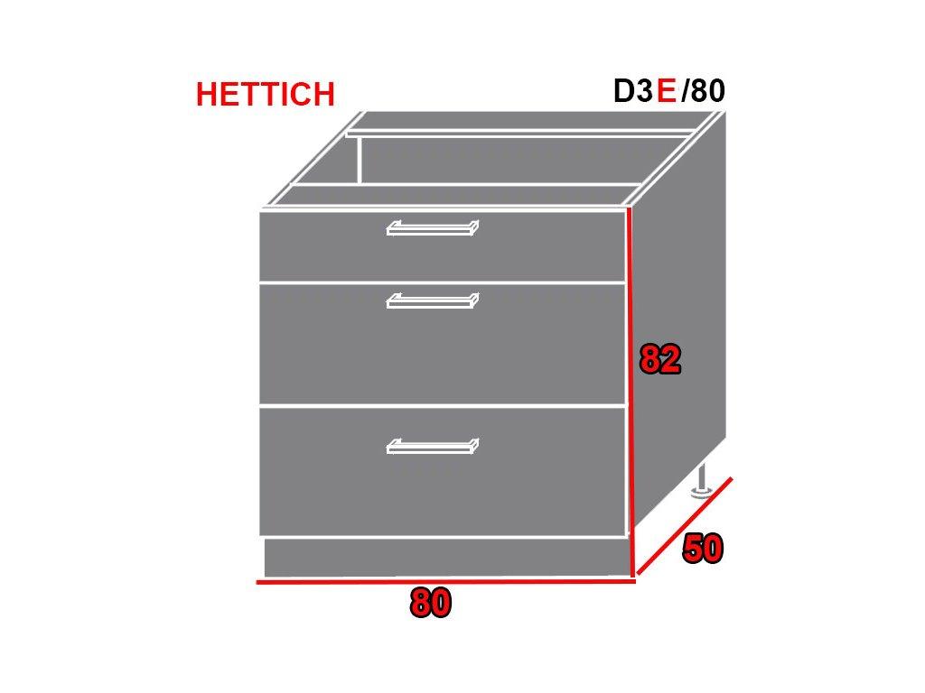 Spodná kuchynská skrinka Quantum D3E/80 (FARBA DVIEROK Beige mat, FAREBNÉ PREVEDENIE KORPUSU Grey)