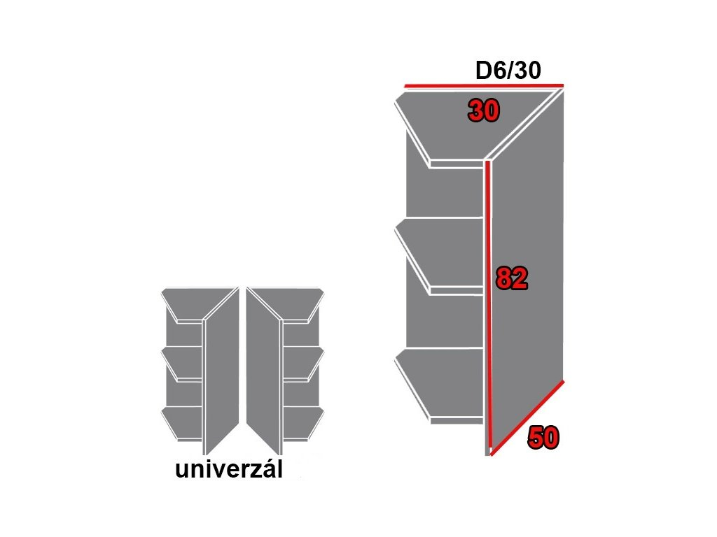 Spodná kuchynská skrinka rohová, policová Quantum D6/30 (FAREBNÉ PREVEDENIE KORPUSU Grey)