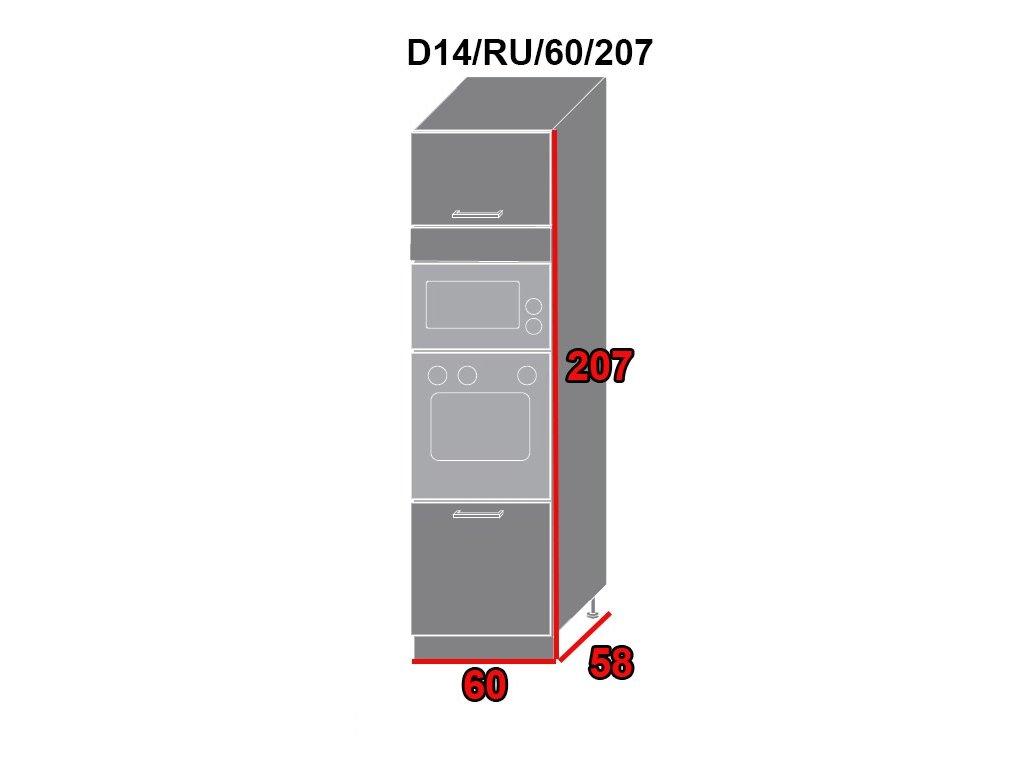 Kuchynská skriňa Quantum D14RU/60/207 (FARBA DVIEROK Biely mat, FAREBNÉ PREVEDENIE KORPUSU Lava)