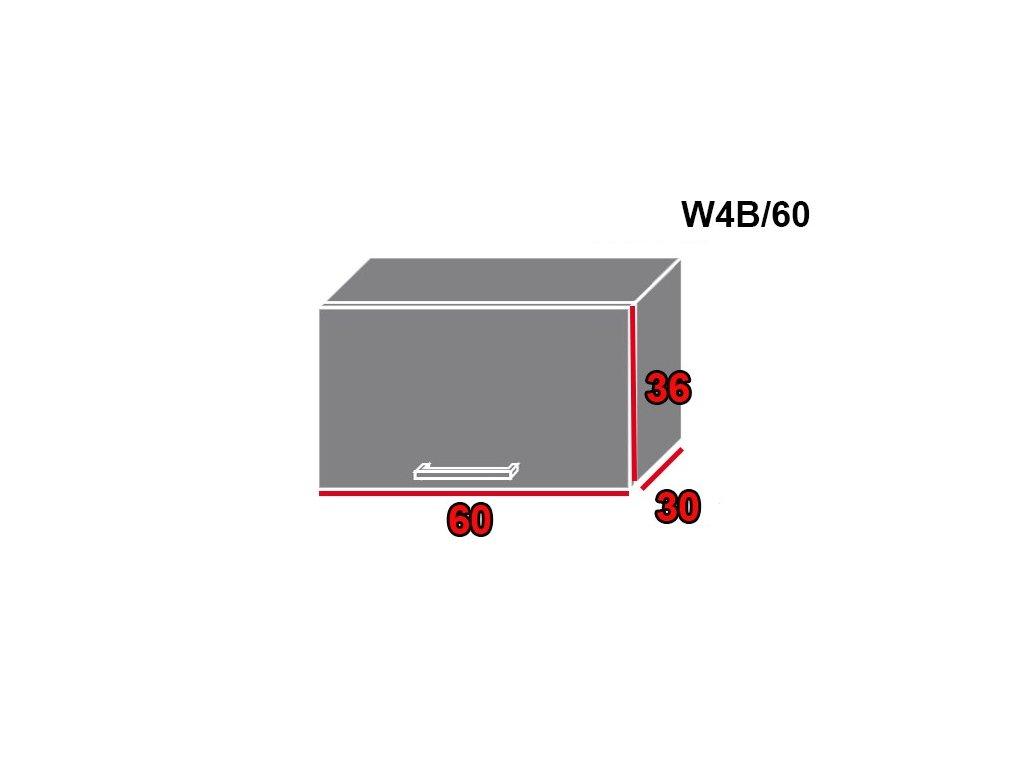 Vrchná kuchynská skrinka Quantum W4B/60 (FARBA DVIEROK Biely mat, FAREBNÉ PREVEDENIE KORPUSU Lava)