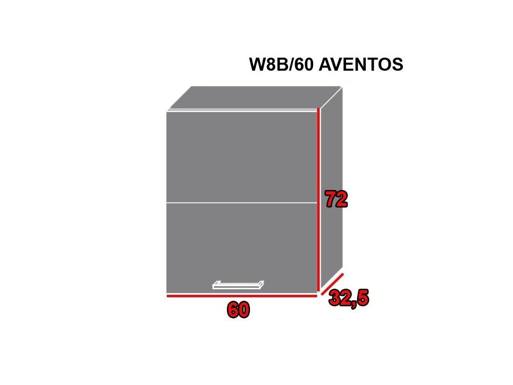 Vrchná kuchynská skrinka Quantum W8B/60 AVENTOS (FAREBNÉ PREVEDENIE KORPUSU Biela alpská, FARBA DVIEROK Vanilla mat)