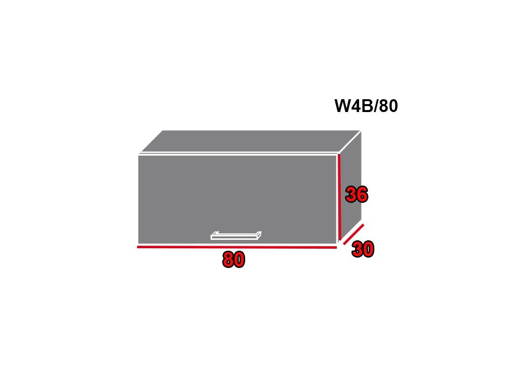 Vrchná kuchynská skrinka Quantum W4B/80 (FAREBNÉ PREVEDENIE KORPUSU Lava, FARBA DVIEROK Beige mat)