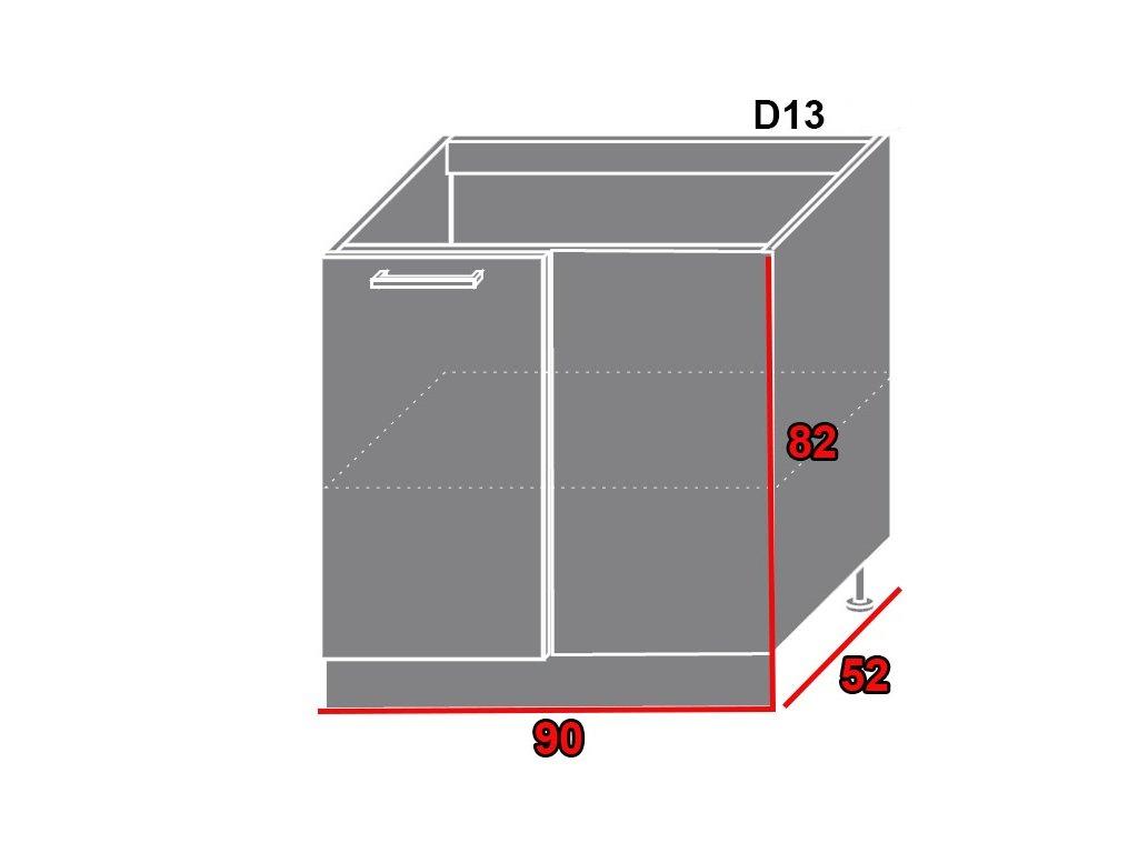 Spodná kuchynská skrinka Platinum D13/U (FAREBNÉ PREVEDENIE KORPUSU Lava, FAREBNÉ PREVEDENIE DVIEROK PLATINUM Rose red)
