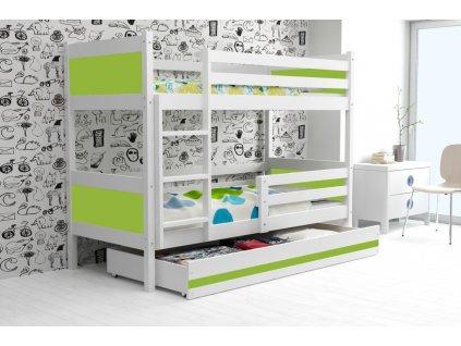 detská poschodová posteľ Rino biela zelená