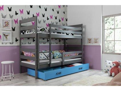 detská poschodová posteľ Eryk biela sivý vklad