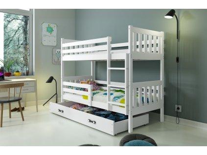 detska poschodova postel s uloznym priestorom CARINO BIELA BIELA