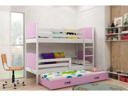 detska poschodova postel s pristlekou TAMI BIELA RUZOVA
