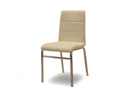 Jedálenská stolička, ekokoža béžová/chróm, DOROTY NEW