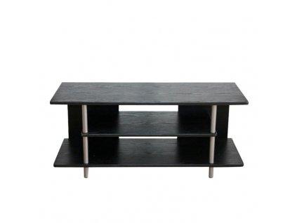 TV stolík, drevo čierne/kov strieborný, QUIDO