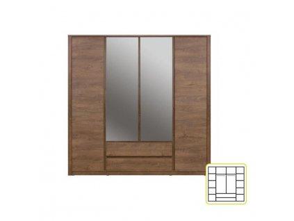 Skriňa so zrkadlom 4-dverová, 2-zásuvková, dub lefkas, MONTE TYP 23