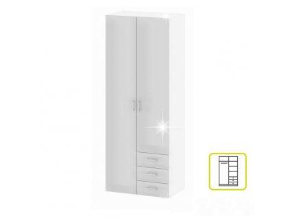 Skriňa, 2 -dverová, biela extra vysoký lesk HG, GWEN 70425