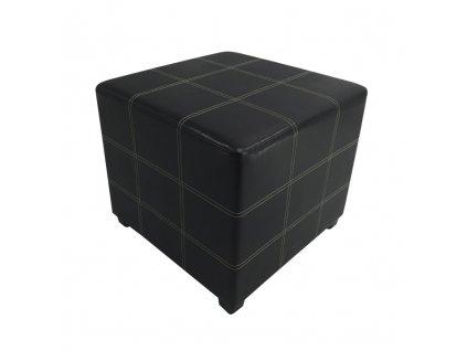 Taburet, čierna textilná koža, NELA