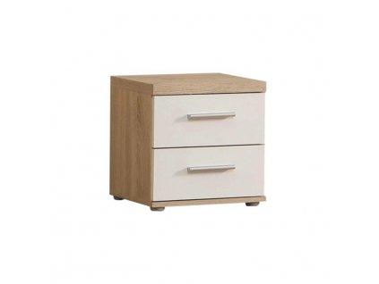 Nočný stolík, dub/biela, WINIE WNK08